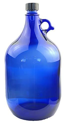 Albert's Premium Selection 5 Liter Henkelflasche/Glasballon, blau, inkl. schwarzem Deckel (8)