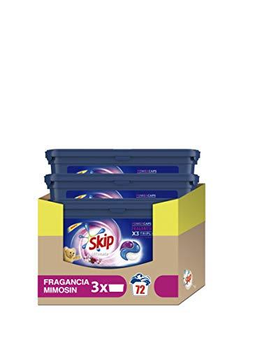 Skip Ultimate Triple Poder Fragancia Mimosín Detergente Cápsulas para Lavadora - Paquete de 3 x 24 lavados - Total: 72 lavados