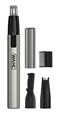 Wahl Micro Finisher Nose Hair Trimmer for Men and Women 3-in-1 Nose Trimmer and Ear and Eyebrow Trimmer, Lithium Battery Powered, Washable Heads by Wahl
