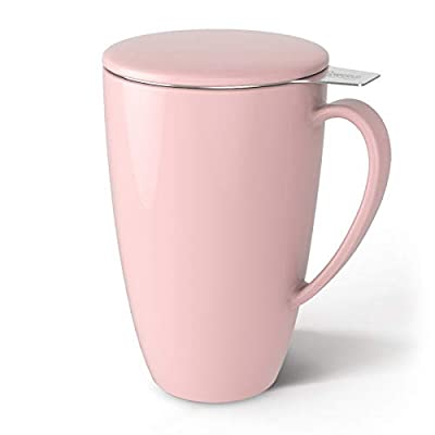 Sweese 201.108 Porcelain Tea Mug with Infuser and Lid, 15 OZ, Pink