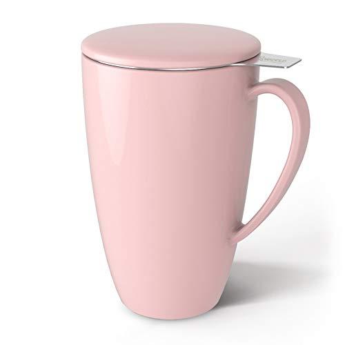Sweese 201.108 Teetasse mit Deckel und Sieb, Becher aus Porzellan für Losen Tee Oder Beutel, Rosa, 400 ml