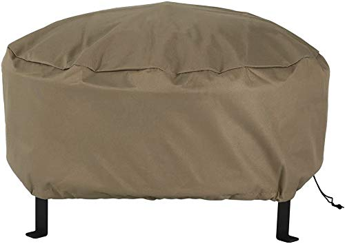 MEIOUKA Round Outdoor Fire Pit Cover Waterproof Windproof Furniture Table Cover Heavy Duty Round Fire Pit Cover - 36 Inch