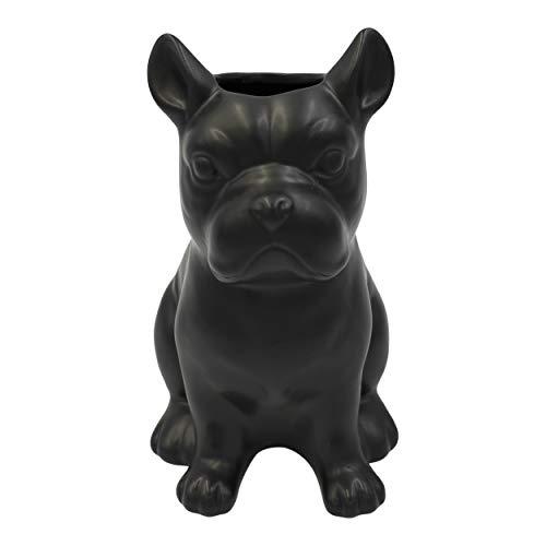 Housevitamin vaas bulldog zwart keramiek 22cm hoog