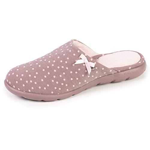 Isotoner - Zapatillas para mujer, diseño de lunares, Beige (marrón),