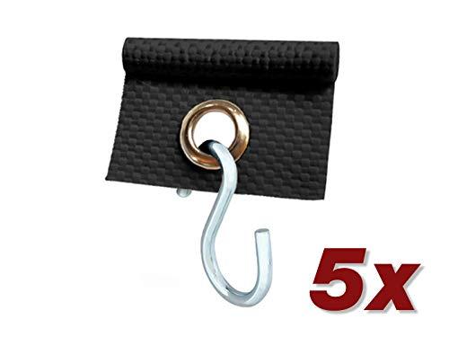 ANKO Planen 5 x Kederöse mit S-Haken für Kederschiene weiß/schwarz D=7,5 mm Camping Öse Kederband Vorzeltkeder (Schwarz)