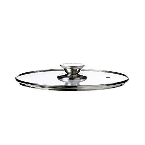 Broszio Glasdeckel 24cm DURANDAL Legend | Universaldeckel für Pfannen mit Dampfloch | Pfannen Deckel mit isoliertem Griff | Topf Deckel Glas