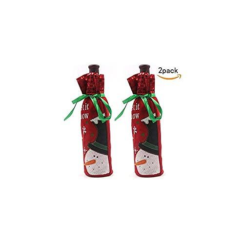 YuKeShop Bolsa para botella de vino, paquete de 2 bolsas para botellas de vino de Santa Claus para decoración de vino, decoración de Navidad, regalo de anfitriona
