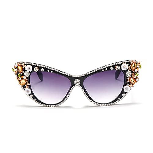 WOJING Vintage Gato Ojo Diamante Gafas de Sol Mujeres Coloridos Diamantes de Sol Gafas de Sol Sombras de Gafas Retro uv400 oculos