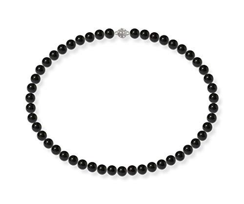 Schmuckwilli Damen Muschelkernperlen Perlenkette Dunkel Schwarz Magnetverschluß echte Muschel 45cm dmk0004-45 (8mm)