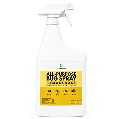 Cedarcide All-Purpose Bug Spray - Lemongrass (Quart)   Insect Repellent for People, Plants, Homes, and Pets   Made with Pure Essential Oils and Plant-Based Ingredients