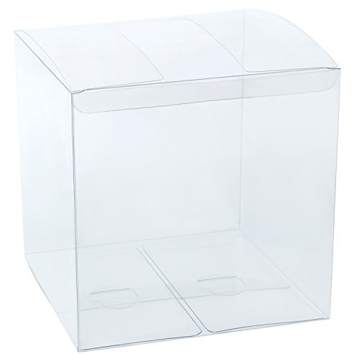 LaRibbons 10Pcs PET Clear Box, Transparent Boxes, Candy Box, Clear Gift Boxes for Wedding, Party and Baby Shower Favors, 6' L x 6' W x 6' H
