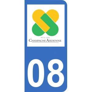 Mon-Blason Sticker 08 met Officiële Logo Regio Champagne Ardenne voor Motorfiets Registratie Plate 6.3 x 2.9 cm