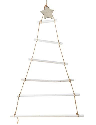 ShiyiUP, albero di Natale creativo in legno, ciondolo da parete fai da te, decorazione bianco