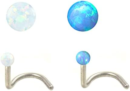 2 pc lot Portland Mall White Blue Today's only Fire Opal Nose Screw P Ball Steel Surgical