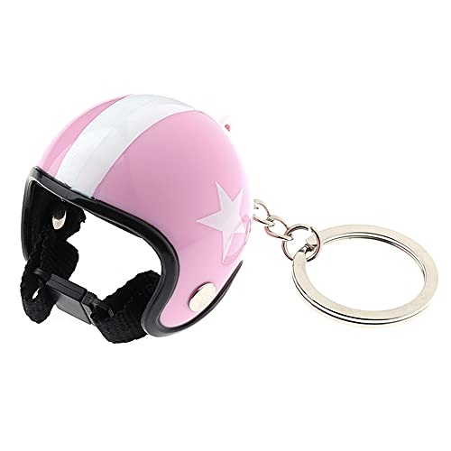 GUODUN Key Ring Motorradschlüsselhalter,Kreativ Mode Tragbar Mehrfarbig Schutzhelm Schlüsselanhänger Auto Dekoration Anhänger Car(pink)