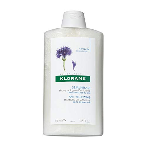 Klorane Anti -Yellowing Shampoo with Centaury for Blonde, White, Silver, Pastel Hair with Natural Blue Pigments, 13.5 oz