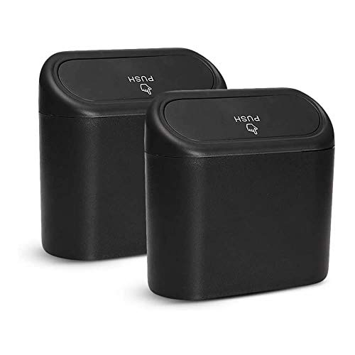 Bote de Basura para Coche pequeño,Portátil Caja de Almacenamiento para Coche,2 Piezas de Cubo de Basura Impermeable para Coche con Tapa,Caja de Almacenamiento Colgante para Oficina