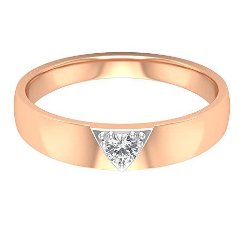 Anillo de compromiso de 3 mm de corte redondo con certificado de diamante, mezcla sólida de metal triángulo de diseño de boda, anillo de promesa de aniversario de cumpleaños, 14K Oro rosa, Size:EU 62
