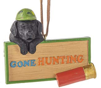 On Holiday Gone Hunting Black Lab Wearing a Green Hat with Red Shotgun Shell Christmas Tree Ornament