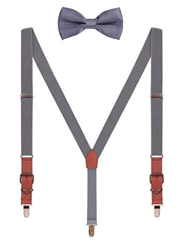 Hosenträger Fliege Sets für Herren Jugendlichen Y Form 3 Anti-Rost Clips Hosenträger Elastisch Verstellbar Classic Schick Gentleman - Dunkelgrau