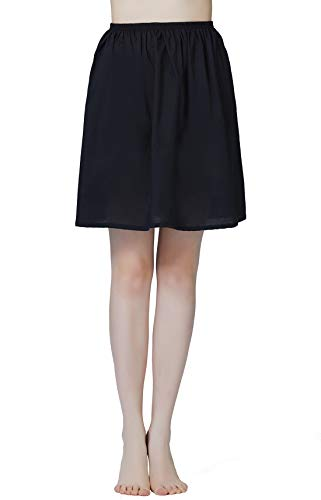 Mujer Enagua de Algodón Corta Antiestática Larga Combinación para Vestido Antideslizante Plain Falda Blanco Marfil Negro