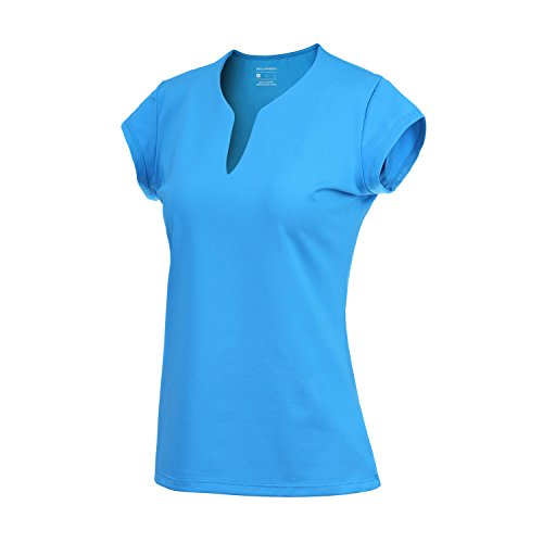 Damen Tennis-Shirts mit V-Ausschnitt, kurzärmlig, schnelltrocknend XS himmelblau