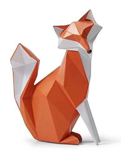 Amoy-Art Skulptur Figur Fuchs Statue Art Geometrisch Tier Dekor für Haus Wohnzimmer Geschenk Andenken Giftbox Resin 20cmH