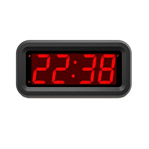 """EUTUKEY Bedroom Alarm Clock Battery Operated Only, 4"""" LED Screen, Big Red Digit Display, 2 Levels of Automatic Dimming, Snooze, 12/24h, Easy Digital Clock for Kids and Adults, Elderly, Boys, Girls"""