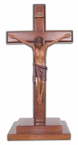 Christliches Holz Corpus Freistehend Kreuz 40cm Stufen Basis