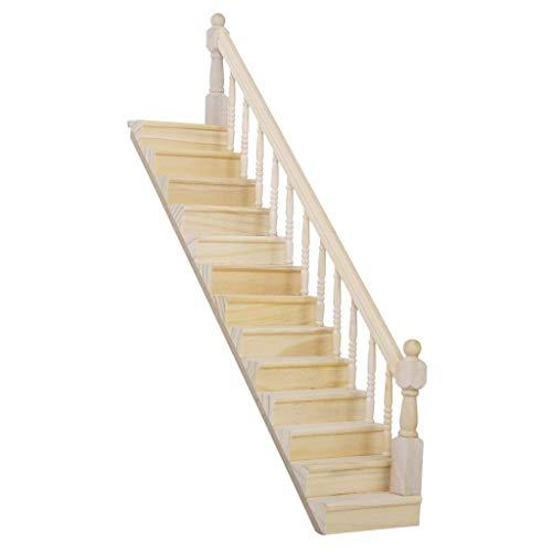Menky Casetta per le bambole in legno, scala Stringer passo con il corrimano destro Pre Assembled