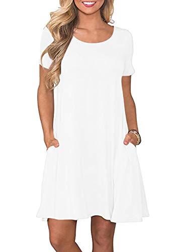 OMZIN Damen Strandkleider Tunika Lässiges Strandmode Bequem Baumwolle Kleider Weiß M