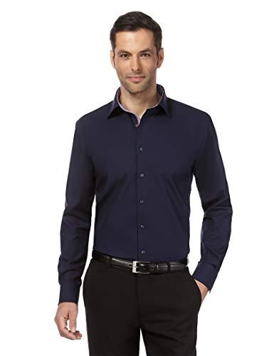 Vincenzo Boretti Herren-Hemd bügelfrei 100% Baumwolle Regular-fit Uni-Farben New-Kent Kragen - Männer lang-arm Hemden für Anzug Krawatte Business Hochzeit Freizeit dunkelblau 43-44