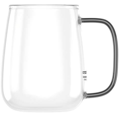 amapodo Taza de café grande de cristal con asa, 700 ml, sin plástico, regalo para mujeres y hombres