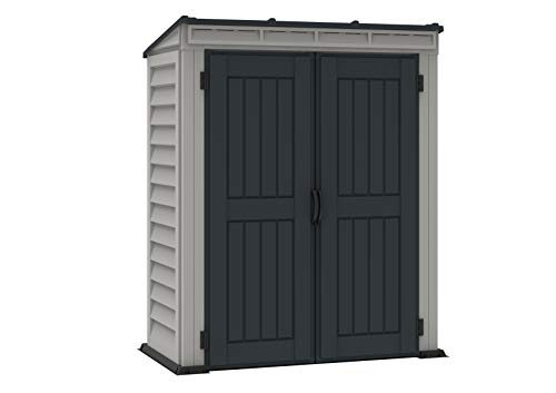 Duramax 05325 Yardmate Plus Pent Outdoor Vinyl Storage Shed, Anthracite & Adobe