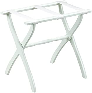 Gate House Furniture Item White Contoured Leg Luggage Rack with 3 White Nylon Straps 23 by 13 by 20-Inch