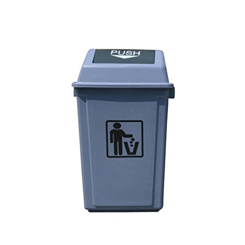 Sale!! WQEYMX Outdoor Trash can Bullet Cover Plastic Trash can, Outdoor flip Large Capacity Trash ca...