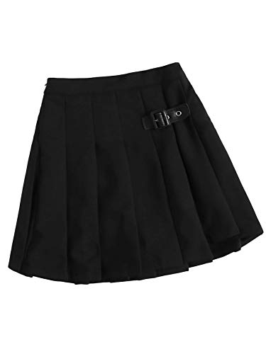 Floerns Girls Casual Pleated Scooter Skirts Buckle School Uniform Mini Skirt Black 9Y