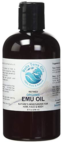 Emu Oil 8 oz 100% Pure Fully Refined Organic Undiluted- Bella Terra Oils