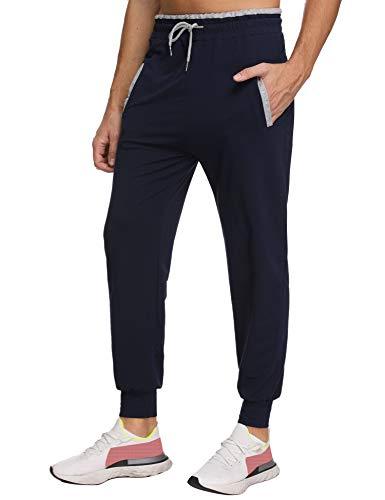 Akalnny Herren Jogginghose Baumwolle Freizeithose Sport Slim Fit Trainingshose Sweatpants Jogger Pants Navy Blau L