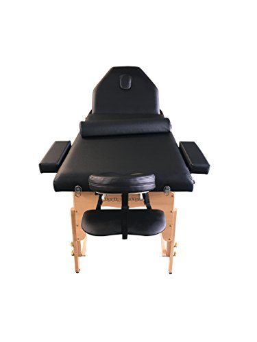 The Best Massage Table 3 Fold Reiki Portable Massage Table Free Half Bolster and Carry Case- PU Leather (BLACK)