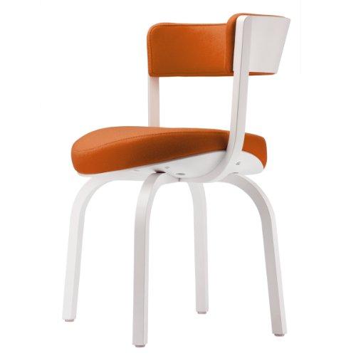 Thonet 405 PF Armlehnenpolstersessel, Gestell Buche lasiert, Bezug Divina 3, Gleiter Kunststoff, weiß/orange