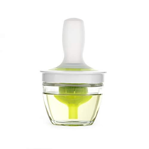 ZAIGON Ölflaschen- & Bürstenset - Hitzebeständige Grillbürste - Silikon-Gießteigbürste mit Glasbehälter für die Küche - Backen von Pfannkuchen - BBQ-Gießwerkzeug