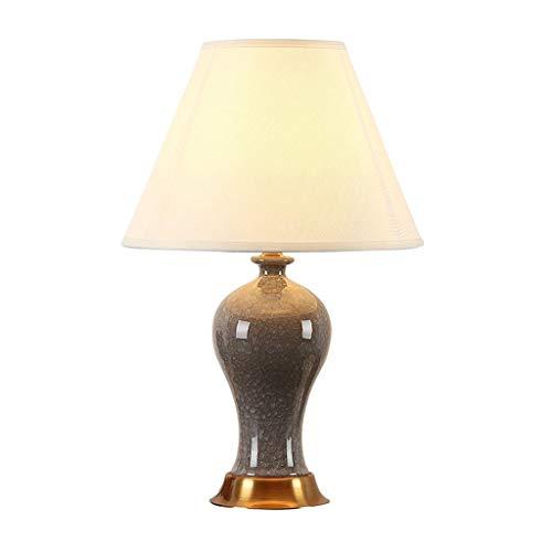Lampara de mesa Lámpara de mesa de cerámica con forma de hielo de hielo Lámpara de mesa de noche LED Pantalla de tela Dormitorio de la sala de estar Estudio de oficina Lámpara de mesa E27 Gris Dormito