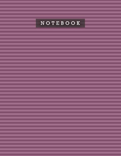 Notebook Tyrian Purple Color Foxes Horizontal Stripes Patterns Cover Lined Journal: 8.5 x 11 inch, Planning, Personal, Weekly, Meal, 110 Pages, Do It All, Diary, A4, 21.59 x 27.94 cm