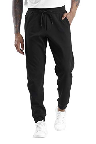 THE GYM PEOPLE Men's Fleece Joggers Pants with Deep Pockets Athletic Loose-fit Sweatpants for Workout, Running, Training (Medium, Fleece Lined-Black)