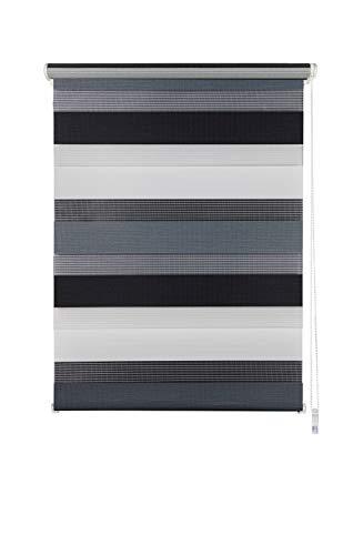 Doppelrollo Klemmfix ohne Bohren Seitenzugrollo Klemmen Sichtschutz Sonnenschutz Fenster innen Grau-Anthrazit 60x160 cm