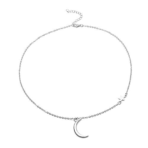SMEJS Collar con colgante de estrella y luna para mujer, collar con joyas de acero inoxidable en forma de media luna