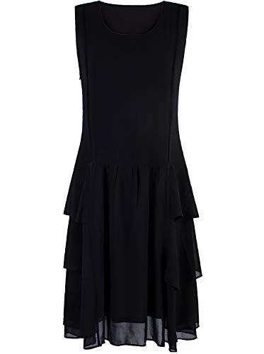 VIJIV Womens 1920s Inspired Flapper Dress High Tea Tiered Skirt Roaring 20s Fashion Great Gatsby Dress Downton Abbey Black Medium