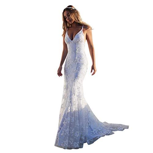 Frauen Spaghetti-Träger Empire Backless Mermaid Lace Hochzeit Abendkleid Brautkleider