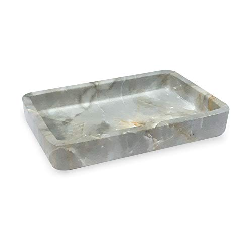 nu steel Stone Hedge Resin Decorative Dish Tray for Bathroom Vanities, Countertops, Pedestals, Kitchen Sink-Store Hand Soap, Pumice Bars, Sponges, Scrubbers-Marble, (RES566-3H)